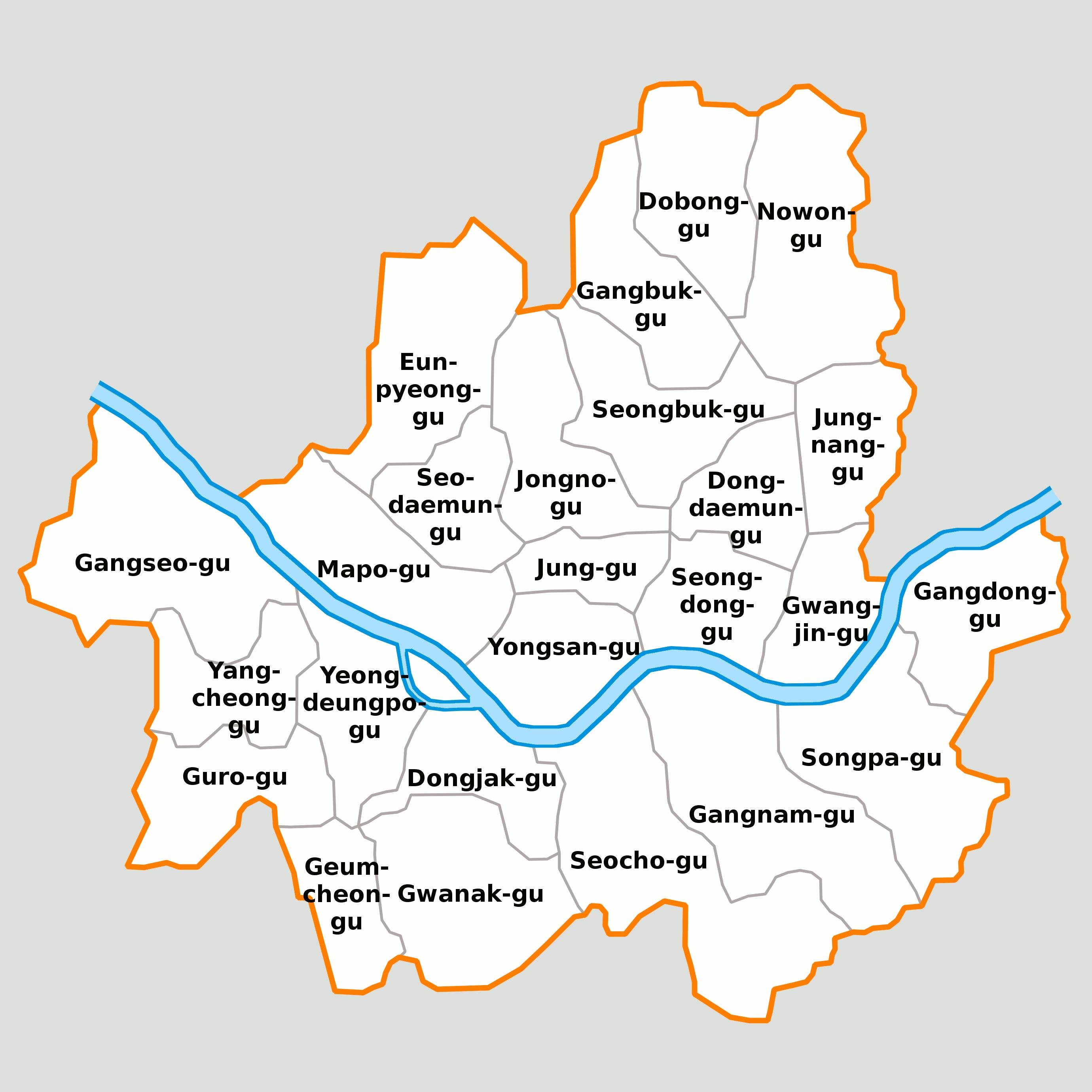 Mapa Seula - podela na opštine